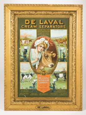 """De Laval Cream Separators"" Tin Lithographed Sign"