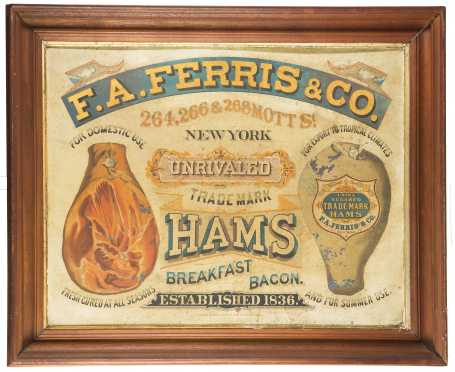 """F.A Ferris & Co."" Lithographed Tin Ham Sign"