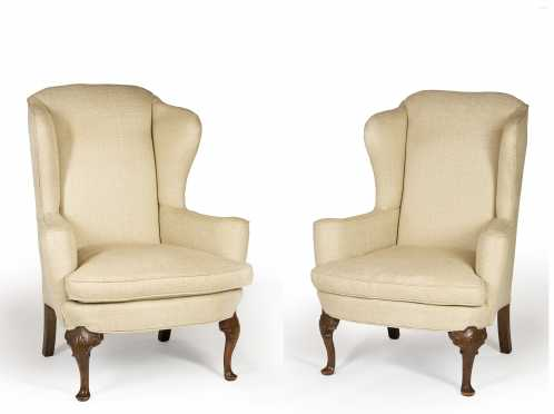Pair of Queen Anne Style Cone Arm Wing Chairs