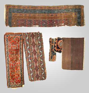 Five Oriental Rug Fragments
