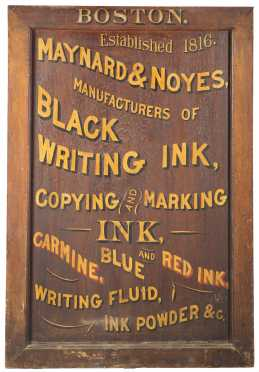 """Maynard & Noyes Ink"" Wooden Trade Sign"