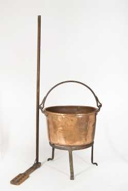 Apple Butter Copper Cauldron and Wooden Paddle