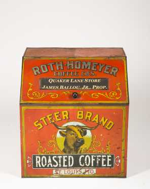 """Steer Brand"" Roasted Coffee Tin Country Store Dispenser"