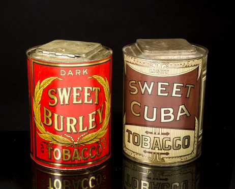 Two Country Store Tobacco Decorated Tins
