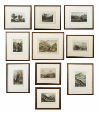 Lot of Ten Colored Engravings of White Mountain Scenes