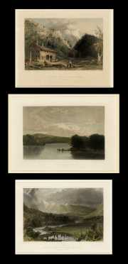 Three Mount Monadnock and White Mountain Colored Engravings of Paintings