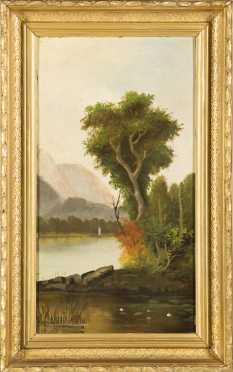 """Painting of """"Echo Lake and Hampshire Ledge"""""""