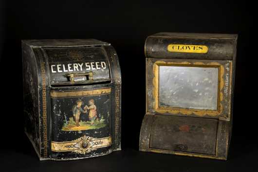 Two Tin Country Store Mirrored Spice and Celery Seed Dispensers