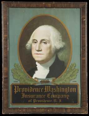 """George Washington"" Lithograph Tin Insurance Sign"