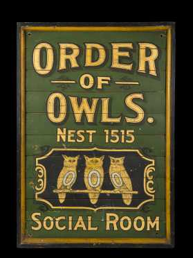 """Order of the Owls Social Room"" Sign"