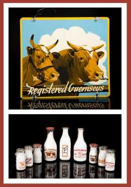 Keene NH Milk Bottle Lot with Registered Guerneys Metal Sign