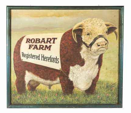 """Robart Farm Registered Herefords"" Painted Sign"