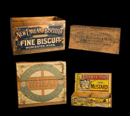 Group of Four Advertising Shipping Boxes