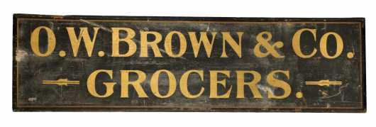 """O.W. Brown & Co. Grocers"" Painted Wooden Sign"