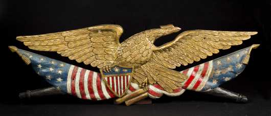 Patriotic Eagle, Flags, Quivers, and Shield