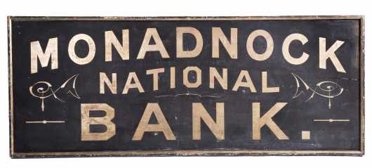 """Monadnock National Bank"" Trade Sign"