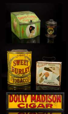 Five Country Store Tobacco Tin Dispensers, Cans and Sign