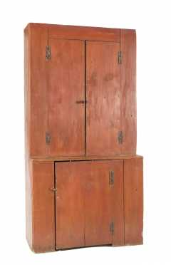 Red Painted NH Step Back Cupboard