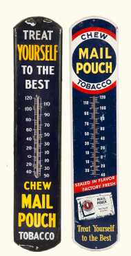 Two Country Store Enamel on Tin Tobacco Advertising Thermometers