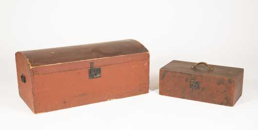 Two Old Red Painted NH Boxes