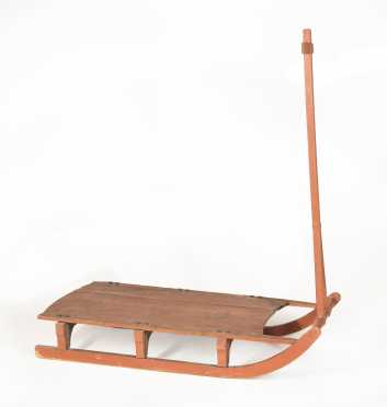 Country Red Paint Wooden Pull Sled