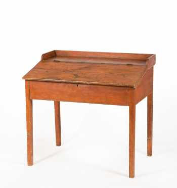 Red Painted Pine Country Store Keepers Desk