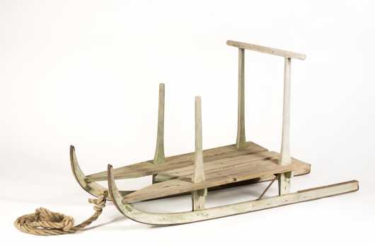 Green Painted Country Wood Sled
