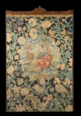 English Needlepoint Pictorial Fire Screen