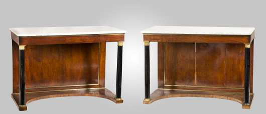 Pair of French Empire Marble Top Pier Tables