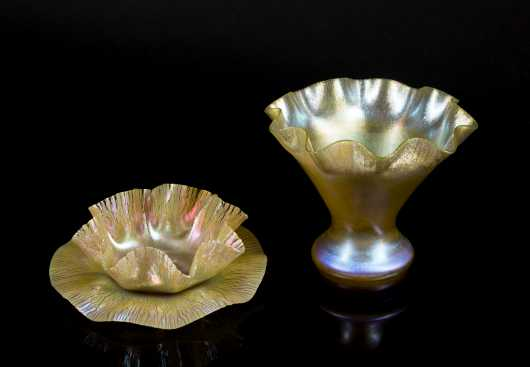 Two L.C. Tiffany Ruffles Edge Glass Pieces