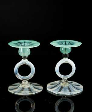 L.C. Tiffany Green to Clear Candlesticks