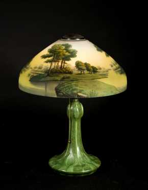 Hampshire Pottery Lamp Base with Newer Reverse Painted Shade