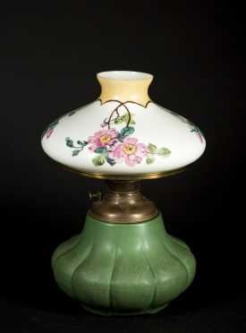 Handel Painted Shade on a Hampshire Pottery Base
