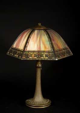 Handel Slag Glass Shade and Base Lamp