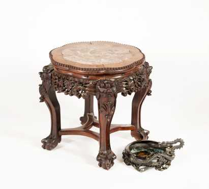 Chinese Marble Top Table and Dragon Bronze Dish