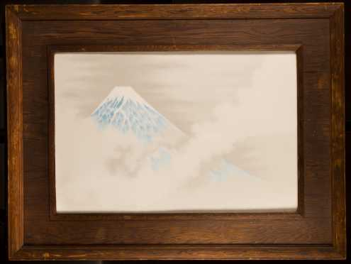 Japanese Framed Porcelain Plaque Mt. Fuji
