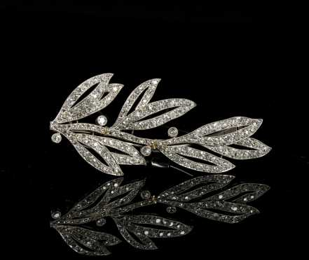 Cartier Platinum and Diamond Laurel Leaf Brooch