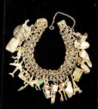 Heavy Gold Charm Double Bracelet