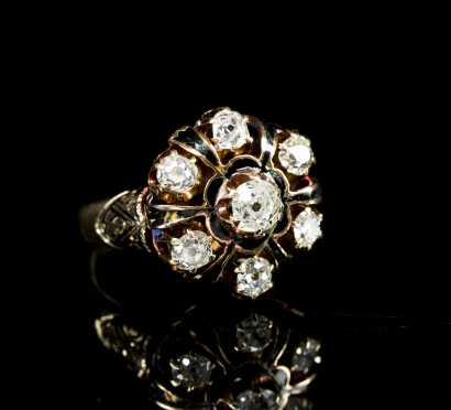 Antique Cut Diamond Cluster Ring