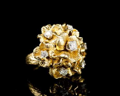 Floral Dome Diamond Ring