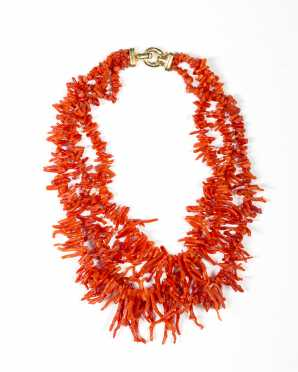 Three Strand Graduated Coral Necklace