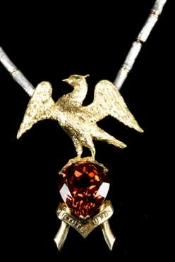Yellow and White Gold Blair Family Crest with Orange Garnet Necklace