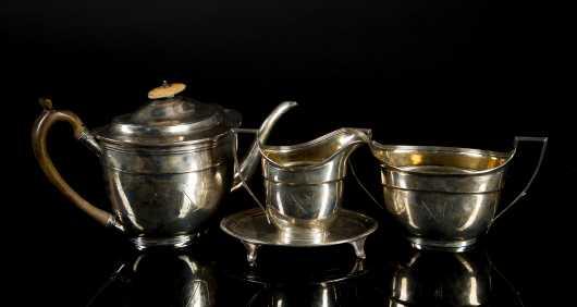 English Coin Silver Tea Set made by John Emes