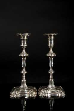 Pair of English Chippendale Style Candlesticks