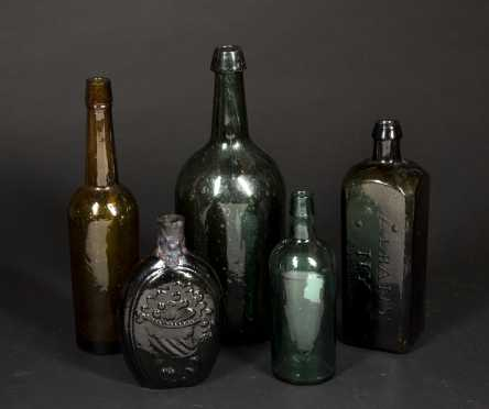 Five Mold Blown 19thC Bottles