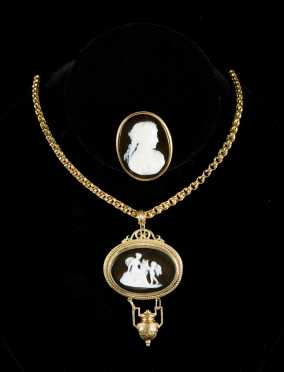 Cameo Pin and Cameo Pendant on Chain