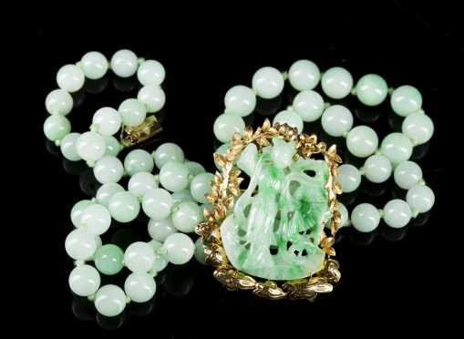 Pale Green Jade Beads and Carved Pendant