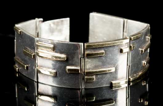 Sterling Silver and Yellow Gold Artisan Bracelet