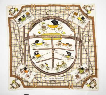 "Hermes Silk Twill Scarf ""Les Voitures Nouvelles"""