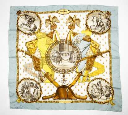 "Hermes Paris Silk Twill Scarf ""Napoleon"""